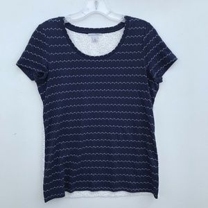 Halogen Stripe Front Embroidered Back Tee #1410